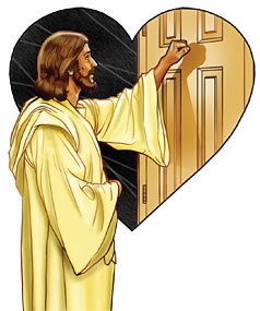 Jesus knocking on the hearts door.